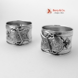 .Baroque Buckle Napkin Rings Boxed Pair Continental Silver 1864