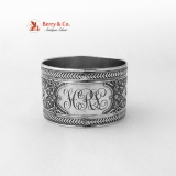 .Floral Scroll Foliate Napkin Ring Coin Silver 1875 HRL
