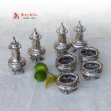 .Renaissance Revival Open Salts Pepper Shakers 4 Gorham Sterling Silver 1900