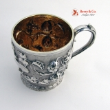 .Fruit Vine Repousse Cup English Sterling Silver Fox 1851 No Monogram