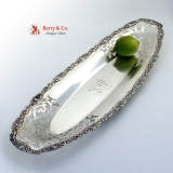 .Celery Tray Floral Scroll Open Cut Work Wallace Sterling Silver Monogram LFW