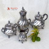 .Ornate Baroque Tea and Coffee 4 Piece Set Germany 1890
