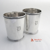 .Antique Coin Silver Pair of Julep Cups Talbot Bailey and Co 1850