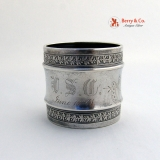 .Acorn Oak Leaf Butterfly Napkin Ring Gorham USC June 15 1881 Sterling Silver
