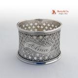 .Clover Cut Gothic Napkin Ring Coin Silver 1860 Alma