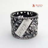 .Acanthus Leaf Open Work Beaded Napkin Ring Sterling Silver 1890 LVJ