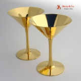.Cartier Pair of Martini Glasses Sterling Silver Gilt