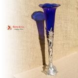 .Lily Vase Sterling Silver Cobalt Blue Glass Gorham Silversmiths 1900