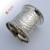 .Engine Turned Napkin Ring Pear Border Fannie to Dexter Sept 2 1864 Coin Silver
