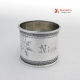 .Aesthetic Napkin Ring Floral Foliate Beaded Coin Silver Nina 1875