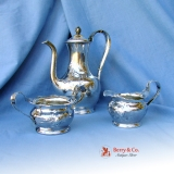 .Art Nouveau Three Piece Coffee Set Hammered International Sterling Silver
