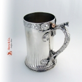 .Large Tankard Sterling Silver Mixed Metals Apple Tree Bark Handle Gorham 1880