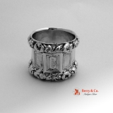 .Nonagonal Baroque Wild Rose Napkin Ring 12 Loth German 1855