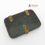 .Antique Faux Tortoise Shell Box 18k Gold Ornate Hinges and Lockc 1840-60