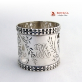 .Cutwork Floral Napkin Ring Hatchwork Frank Whiting 1890 Monogram TRJ