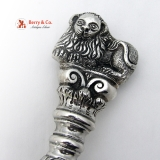 .Unique Huge Ornate Stuffing or Basting Spoon Sterling Silver Lion Finial