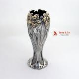 .Daffodil Floral Vase Sterling Silver 14K Gold Shiebler 1890