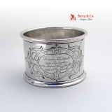 .Presentation Napkin Ring Coin Silver 1872 New York
