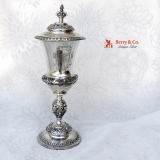 .Antique Large Covered Chalice 830 Silver 1885
