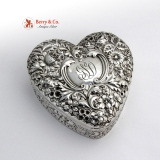 .Heart Form Jewelry Box Floral Repousse Sterling Silver Gorham Silversmiths 1900
