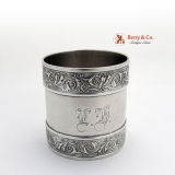 .Coin Silver Napkin Ring Aesthetyc Style Scroll Borders 1870