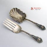 .Ornate Serving Set Fork Spoon Enamel Open Work Decorations Sterling Silver 1890