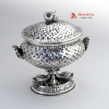 .Dolphin Shell Covered Pedestal Bowl Italian 800 Silver 1900