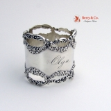 .Floral Scroll Open Work Napkin Ring Shreve Sterling Silver 1900 Olga