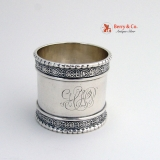 .Ornate Beaded Napkin Ring Coin Silver 1870 HHP