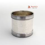 .Double Beaded Napkin Ring Coin Silver 1870 No Monogram