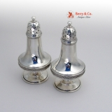 .Diamond Pattern Tapered Shakers Kidney and Johnson Coin Silver 1870