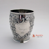 .Ornate Repousse Beaker Coin Silver Lincoln and Foss Boston 1855