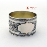 .Antique Floral Embossed Napkin Ring 800 Silver 1890