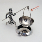 .Chinese Export Silver Figural Tea Strainer 1890