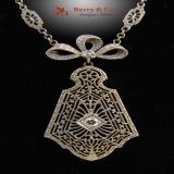 Filigree Necklace 1930 White Gold Diamond
