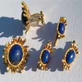 Gentleman's 18K Gold and Lapis Lazuli Cufflinks and Shirt Stud Dress Set