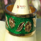 Green Enamel 18K Yellow Gold Wide Band Ring