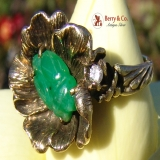 14K Yellow Gold Carved Jade Bug Cocktail Ring
