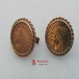 American Five Dollar Indian Head Gold Cufflinks