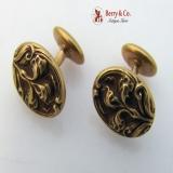 Art Nouveau Iris 14K Gold Cufflinks 1900