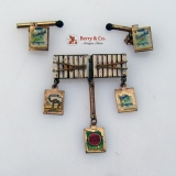 Novelty Cigarette Enamel Cufflinks and Pin 1950s