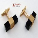 Retro 14K Yellow Gold and Onyx Modern Cufflinks 1960