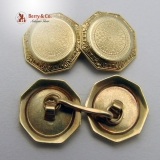 Engine Turned Octagonal 14K Gold Cufflinks 1930
