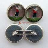 Essex Crystal Golfer Cufflinks Sterling 1910