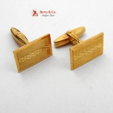 Modern Cufflinks 18K Yellow Gold Bright Cut Vicenza 1970