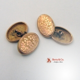 Oval Floral Engraved 9K Rose Gold Cufflinks 1895