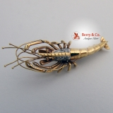 Figural Lobster Pin 14K Gold Diamonds Rubies