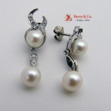 Pearl and Diamond Dangle Earrings 14K White Gold