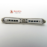 Art Deco 14K Karat White Gold Filigree Diamond Sapphire Bar Pin Brooch Vintage