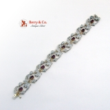 Diamond and Ruby Ornate Openwork Floral Bracelet